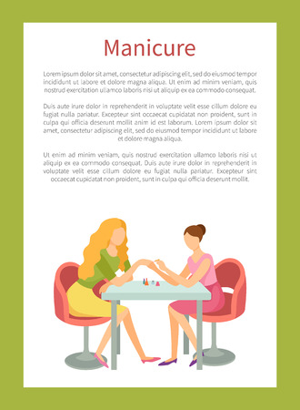 Manicure and hand treatment, nails polishing vector poster. Manicurist and client sitting at table with bottles. Body care procedure on fingers in spa salon