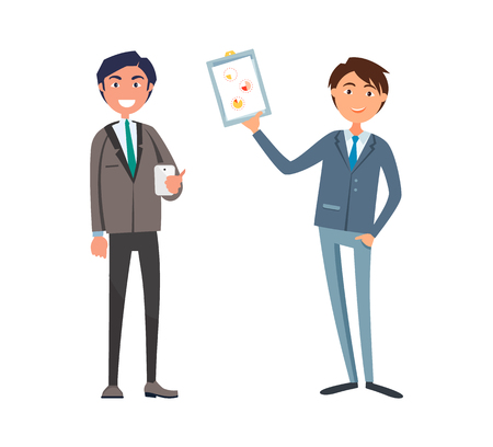 Man showing business plan to manager with cell phone vector. Companion of chief executive, office worker wearing suit. Owner of strategy planning Ilustrace