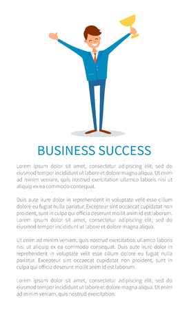 Business success poster, man holding gold cup award, businessman with prize in hands vector. Successful boss stretching hands up, leader celebrating victory