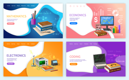Mathematics algebra and geometry school subjects vector. Economics finance calculations and analysis of graphics, electronics and coding programming