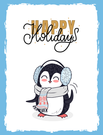 Merry Christmas postcard happy holidays with little penguin dressed in knitted gray winter scarf and ear muffs. Holiday greetings and presents, vector