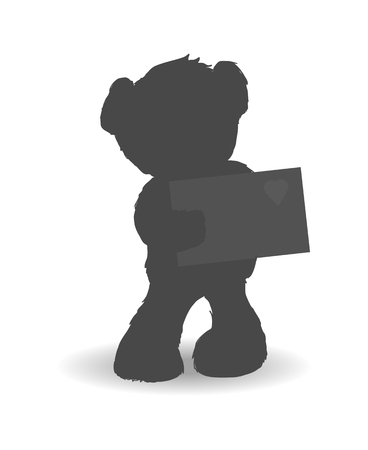 Teddy bear with shy and modest mood holding letter with icon of heart, made with love, poster and vector illustration isolated on white background. Black on white Çizim