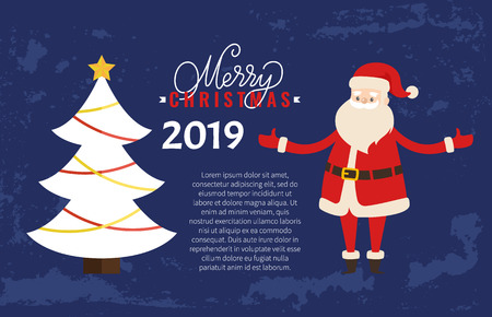 Merry Christmas greeting card on 2019 New Year holiday. Vector postcard sample with decorated Xmas tree topped by star with garland, cartoon Santa