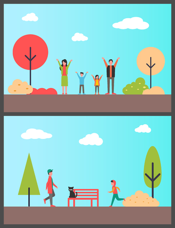 Family in autumnal park, boy teenagers jogging vector. People enjoying sunny days of fall season, cat sitting on bench. Sport male working out running