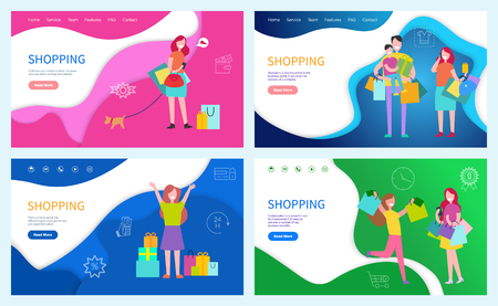Shopping family using discounts, buying presents and gifts on holiday vector. Customer, female friends happy because of purchases in paper packages