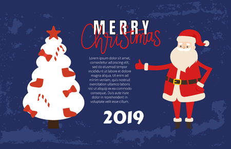 Merry Christmas Poster with Happy Santa Claus. Vector Jack Frost and Xmas Tree topper star decorated by bows, stockings and treat candies, place for text Illustration