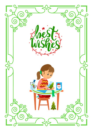 Best wishes on Christmas holidays, girl sitting at table and cutting Xmas tree and snowman, Santa Claus of paper. Kid making cards in decorative frame Ilustrace