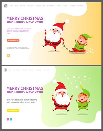 Merry Christmas and happy New Year Santa Claus with elf vector. Winter character with helper standing under snowfall, riding sleigh together holidays