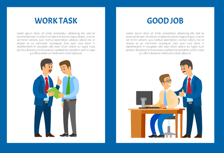 Boss giving work task, praise for good job. Company leader supervising new office worker vector. Director pleased with work of employee, encouraging for results Ilustrace