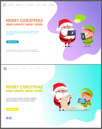 Merry Christmas and happy New Year web page set vector. Santa Claus with elf helper checking list of children to get gifts, chatting on laptop phone Çizim