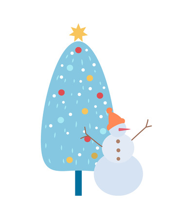 Snowman in hat with carrot nose and branch hands rising up and button, standing near fir-tree. Decoration big Christmas wood with balls and star vector Illustration
