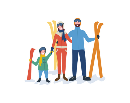 Family skiing, mother father parents and child vector. People leading active lifestyle, winter sport and hobby of kid holding moms hand, seasonal fun