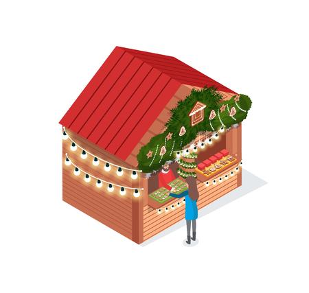 Weihnachtsmarkt, Markt mit Shop und Kundenvektor. Verkäuferin mit Verkauf von Keksen aus Lebkuchen, Ingwerkeksen in Form von Mann und Stern