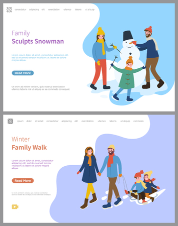 Family sculpts snowman wintertime and activities in winter season vector. Father and mother pulling sledges with children, snowy weather, frosty air Ilustração