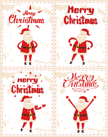 Merry Christmas Father frost greeting everyone with hands up, congratulations and warm wishes vector. Santa Claus cartoon character stickers on grunge 向量圖像