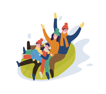 Family mother and father, children having fun vector. Winter leisure cold weather people going down slope, downhill on rubber boat happy relatives Illusztráció