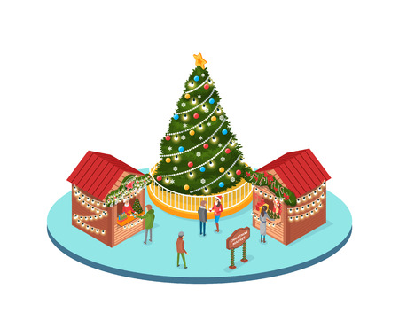 Christmas marketplace, people buying souvenirs from stalls and street shops vector. Evergreen pine tree decorated with ornaments, baubles and garlands Иллюстрация