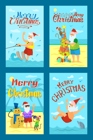 Greeting card Merry Christmas with Santa Claus and monkey in red hat. Swimming and wakeboarding, making photos and fir-tree with snowman vector icons