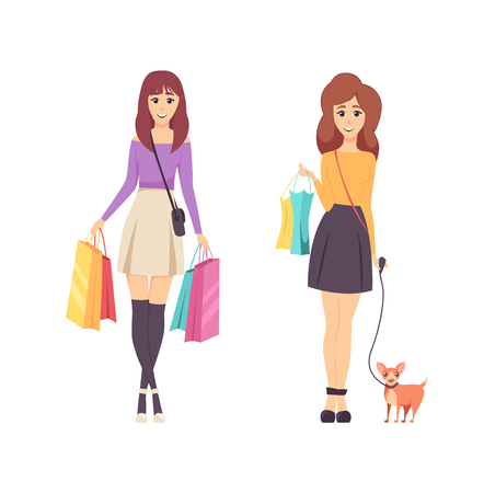 Shopping young women carrying lots of bags vector. Lady returning from shops with packages and bought items. Purchased in hands of girls, walking dog