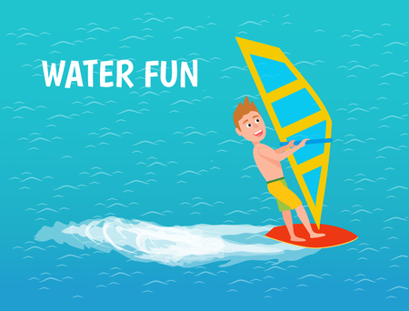 Water fun of male boy windsurfer poster with text vector. Teenage boy riding windsurfing board with sail. Sport and hobby of person on sea surface