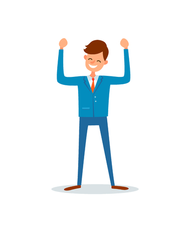 Man happy because of success, successful boss, flat style vector. Chief executive ceo worker having good mood. Enterpreneur with broad smile on face Illustration