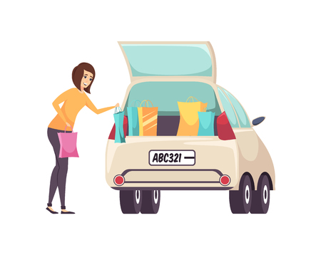 Female shopaholic woman with bags and purchases putting into car vector. Woman returning home from shopping center and shops. Lady with purchases