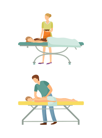 Spa salon chocolate body care and massage isolated icons set vector. Masseur and masseuse with sweet cocoa liquid. Procedures by experts specialists Illustration