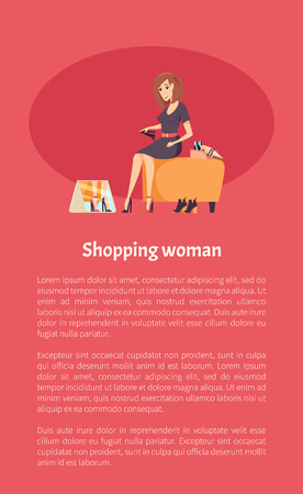 Shopping woman female shopaholic wearing and trying on new shoes on heel. Store shop with boots variety and mirror vector. Lady fashion customer poster Illustration