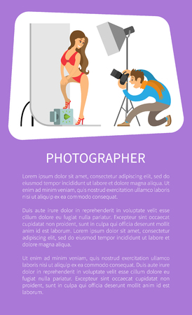 Photographer and model in swimsuit at photo studio. Man holding camera making shots of woman wearing red underwear with stilettos vector poster, text Çizim