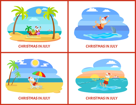 Christmas in July, celebration of holiday in summer vector. Santa Claus swimming and having fun with dolphin, taking selfie and lying in cozy hammock