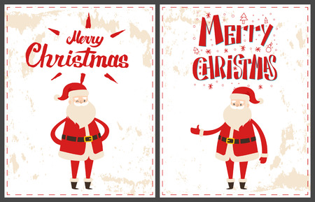 Wintertime greeting cards, New Year cartoon character sticker on grunge. Merry Christmas Santa Claus pointing on something by hand, welcome gesture vector Illustration