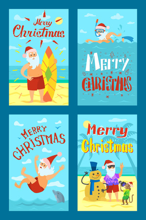 Holiday images shooting Santa Claus with snowman and surfboard on sea beach, swimming and having fun. Postcard greeting Merry Christmas seascape vector Illustration