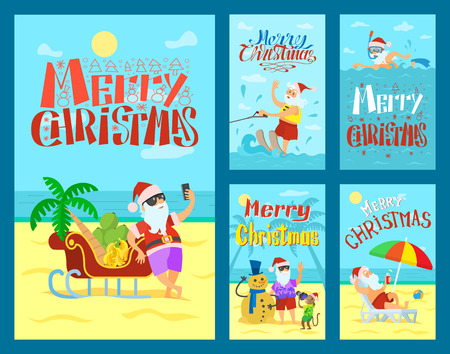 Cartoon Merry Christmas with Santa Claus summer and winter collection vector. Swimming and laying on the beach, shooting and having fun vector
