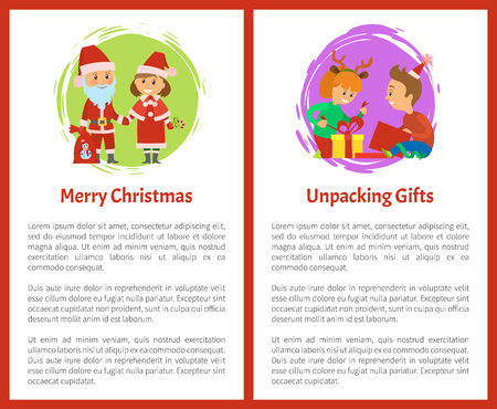 Merry Christmas wishes, Santa Claus and Snow Maiden, children unpacking gifts vector with text sample. Christmas holidays, packages boxes with presents Ilustração