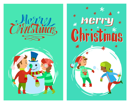 Merry Christmas holidays children building snowman and playing snowballs, vector outdoor activities posters. Boy in Santa Claus play in snow games at winter
