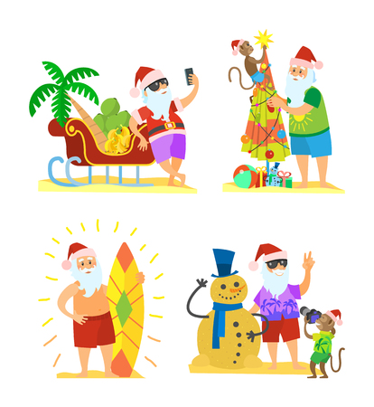 Christmas on beach, Santa Claus and monkey decorating umbrella, snowman of sand, sleigh full of fruits, New Year in hot countries, old man with surfboard, vector