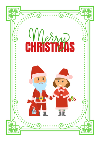 Merry Christmas poster Santa Claus and Snow Maiden in red holiday costumes, vector lettering and decorative frame. Mother and father changed to greet children