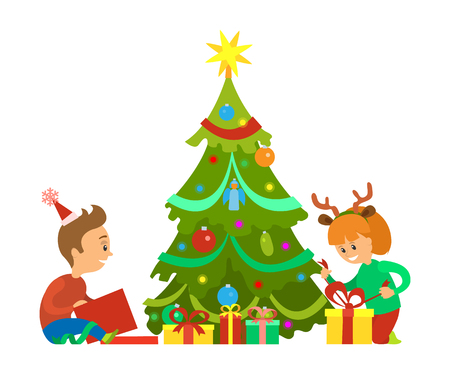Christmas holidays, New Years eve children unpacking gifts vector. Decorated evergreen pine tree, boy and girl kids, happy with presents in boxes