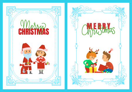 Merry Christmas holidays and happy winter posters vector. Santa Claus holding sack with presents to kids, Snow Maiden with lollipop. Unpacking gifts