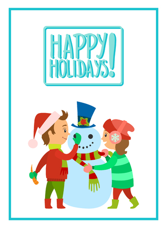 Happy holidays children making snowman vector. Boy in Santa Claus hat holding carrot nose of winter character. Girl putting scarf on man of snow, isolated Standard-Bild - 125864015