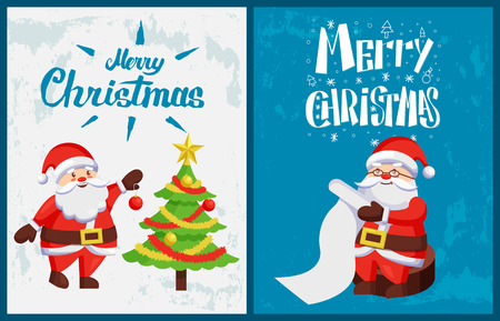 Merry Christmas, Saint Nicholas checking wishes of kids in letter, vector. Santa Claus decorating Xmas tree by balls and garlands and reading wish list