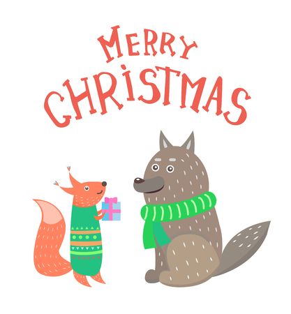 Merry Christmas, squirrel with gift box in knitted green sweater and wolf in warm scarf. Winter animals exchanging presents isolated on white, vector