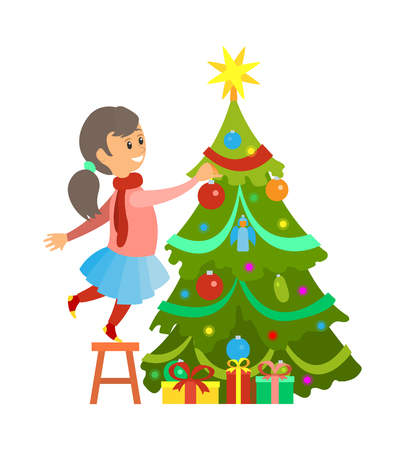 Christmas preparation, girl decorating pine tree vector. Female kid reaching top of fir, shiny star on top. Winter holidays, spruce and presents gifts