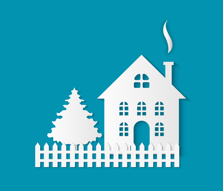 Paper cut building with door and windows, chimney pipe and fence. Vector fir tree spruce and dwelling isolated. Residential real estate building icon