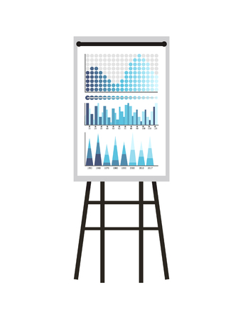 Infographics and schemes, statistics presentation vector. Whiteboard with visualized data, charts and growing flowcharts with timelines chronology