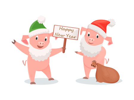 New Year pigs in Santa costume, gifts sack and greeting signboard. White beard and hat on piglets, symbolic animal, winter holidays vector illustrations Stock Illustratie