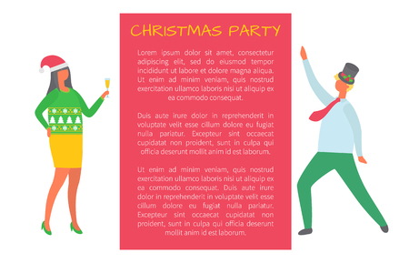 Christmas party, people celebrating New Year and Xmas holiday invitation leaflet. Vector cartoon style business managers inviting on celebration, vector Stockfoto - 125864028