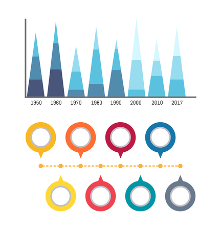 Infographics and circled flowcharts diagrams isolated icons vector. Scale with numeric data, timeline and layout statistics. Infocharts comparison Illustration