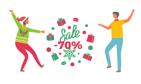 Winter sale poster, woman in Santa Claus hat. Man in sweater and jeans, and tag in wreath of gifts, 70 percent discount label, vector people isolated