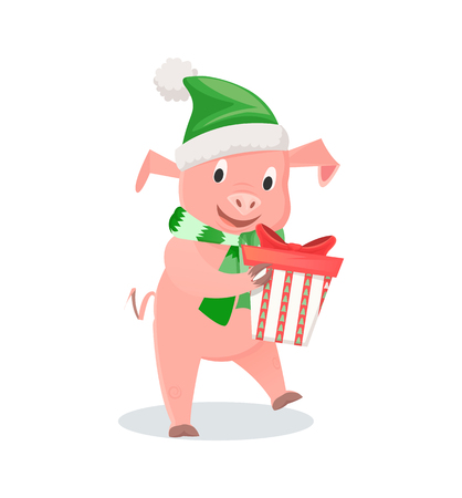 Pig in hat and scarf with gift box, New Year zodiac symbol. Animal in elf costume, domestic livestock mammal, funny piglet vector illustration isolated